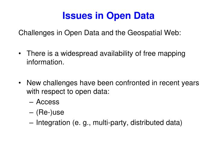 Issues in Open Data