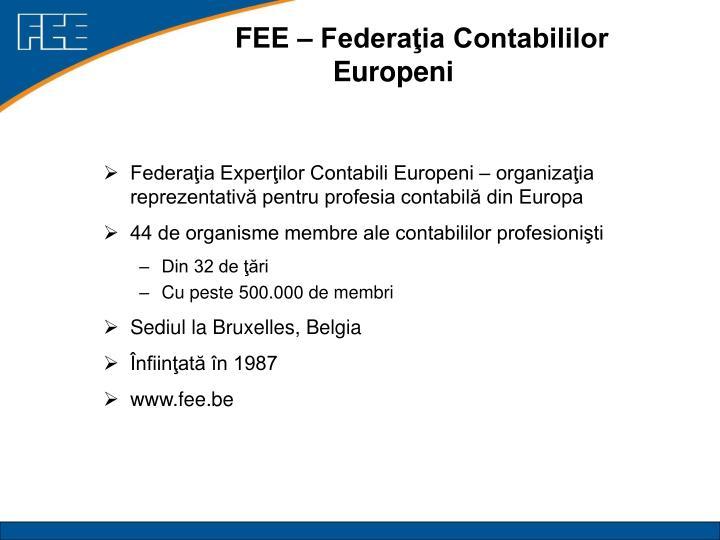FEE – Federaţia Contabililor Europeni
