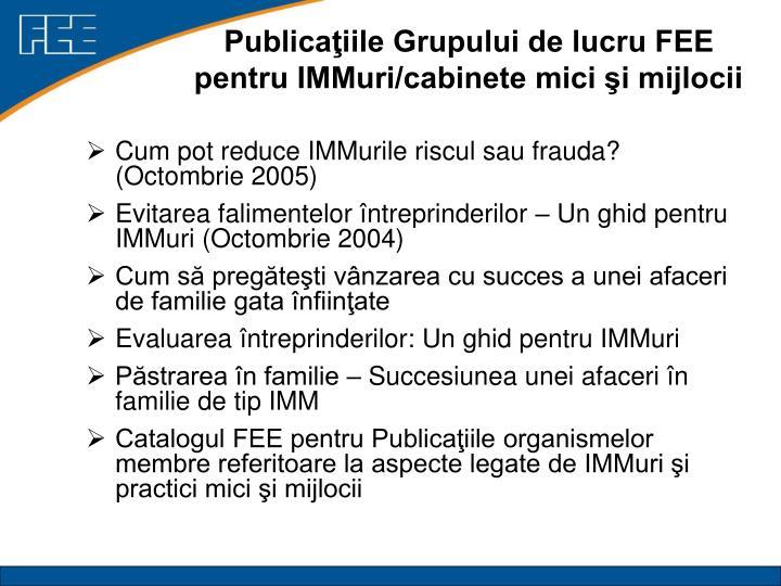 Publicaţiile Grupului de lucru FEE pentru IMMuri/cabinete mici şi mijlocii
