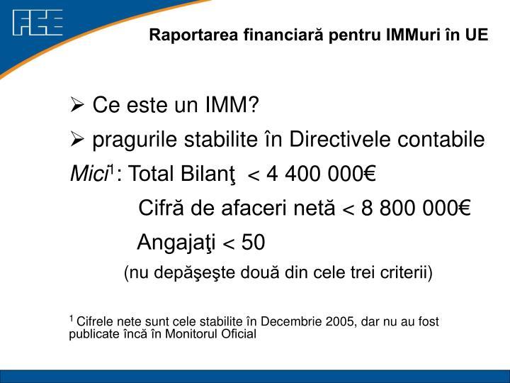 Raportarea financiară pentru IMMuri în UE