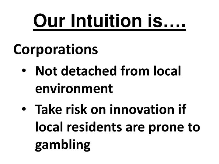 Our Intuition is….