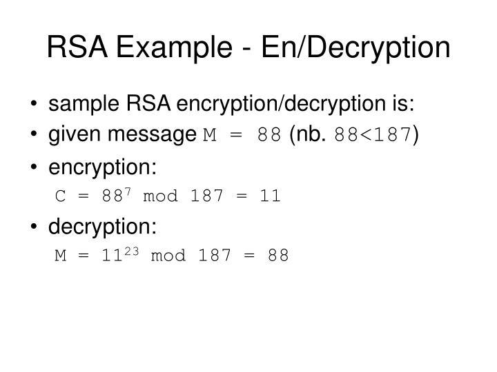 RSA Example - En/Decryption