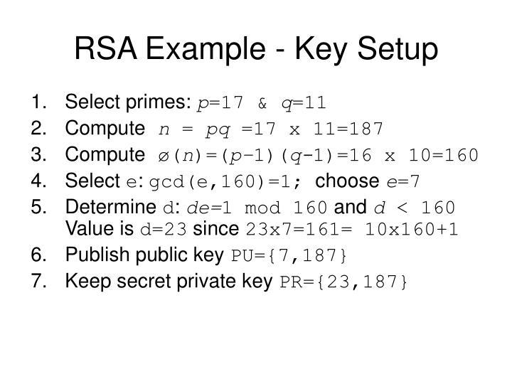 RSA Example - Key Setup