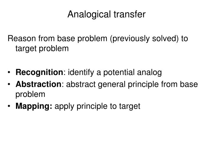 Analogical transfer