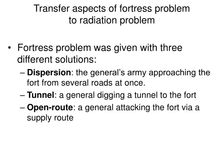 Transfer aspects of fortress problem