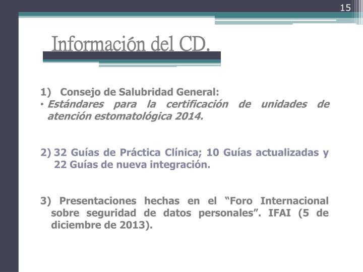 Información del CD.