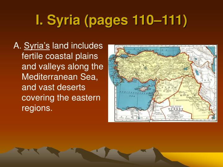 I. Syria (pages 110–111)