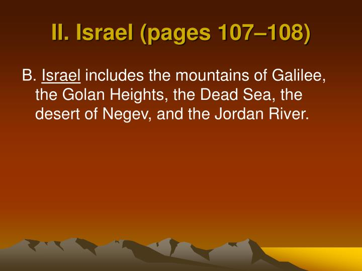 II. Israel (pages 107–108)