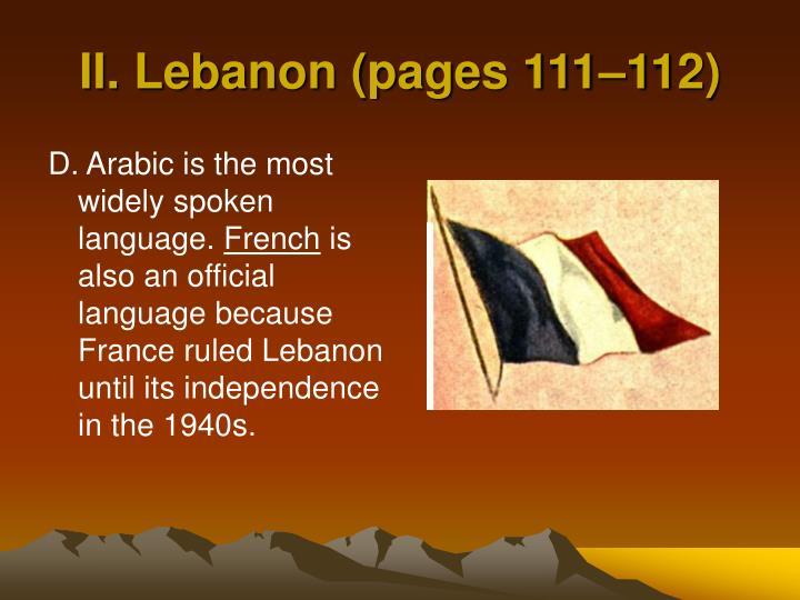 II. Lebanon (pages 111–112)
