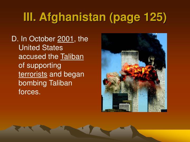 III. Afghanistan (page 125)