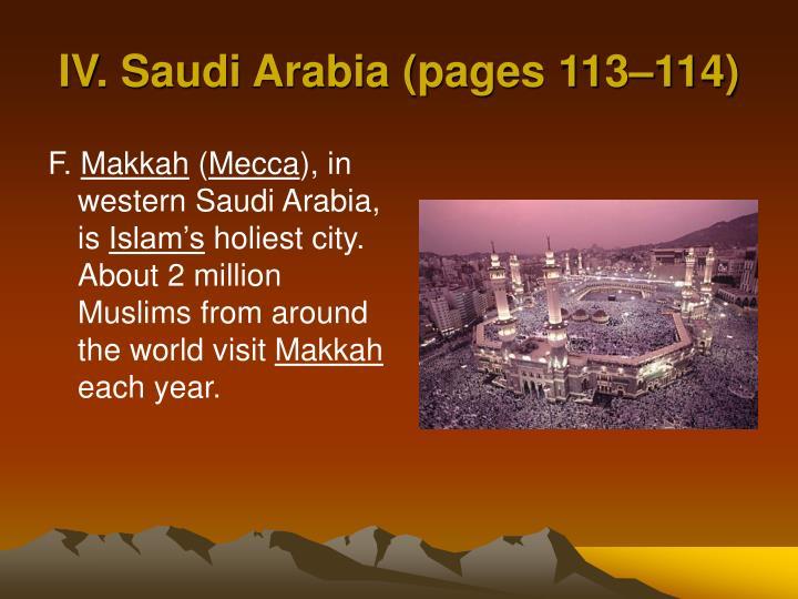 IV. Saudi Arabia (pages 113–114)