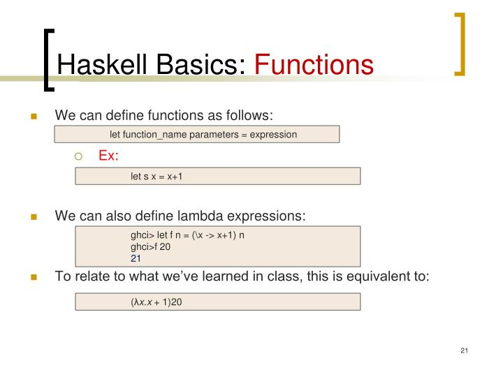 Haskell Basics: