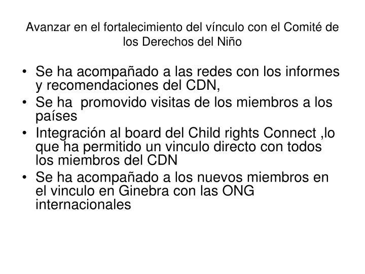 Avanzar en el fortalecimiento del vínculo con el Comité de los Derechos del Niño