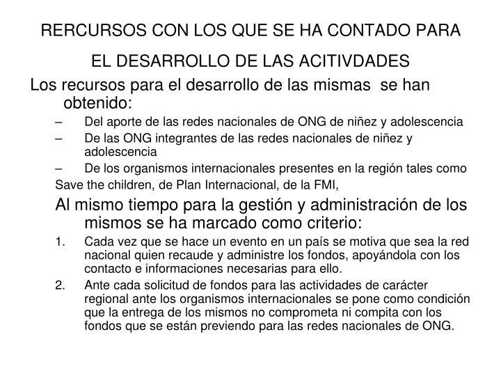 RERCURSOS CON LOS QUE SE HA CONTADO PARA EL DESARROLLO DE LAS ACITIVDADES