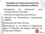actividades de la direcci n nacional de medicamentos y dispositivos m dicos