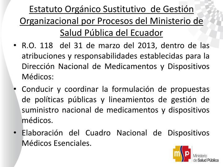 Estatuto Orgánico Sustitutivo  de Gestión Organizacional por Procesos del Ministerio de Salud Pública del Ecuador