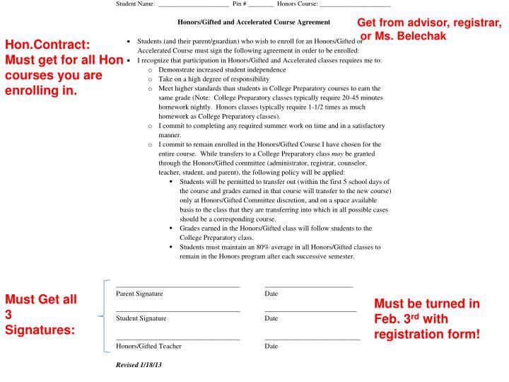 Get from advisor, registrar,
