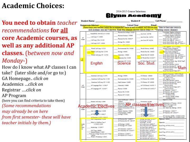 Academic Choices: