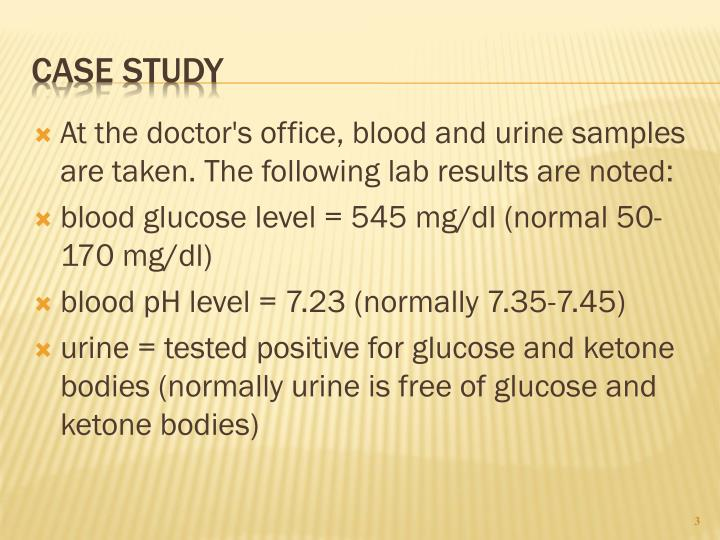 At the doctor's office, blood and urine samples are taken. The following lab results are noted:
