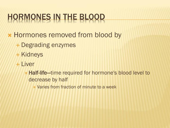 Hormones removed from blood by