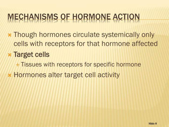 Though hormones circulate systemically only cells with receptors for that hormone affected