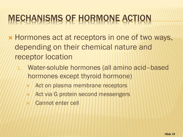 Hormones act at receptors in one of two ways, depending on their chemical nature and receptor location