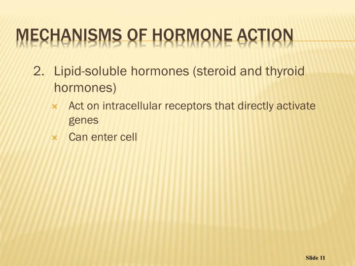 2.Lipid-soluble hormones (steroid and thyroid hormones)