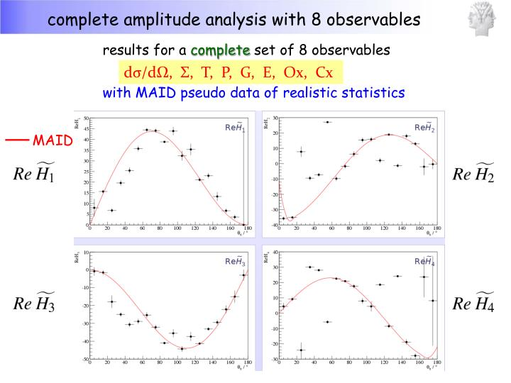complete amplitude analysis with 8 observables