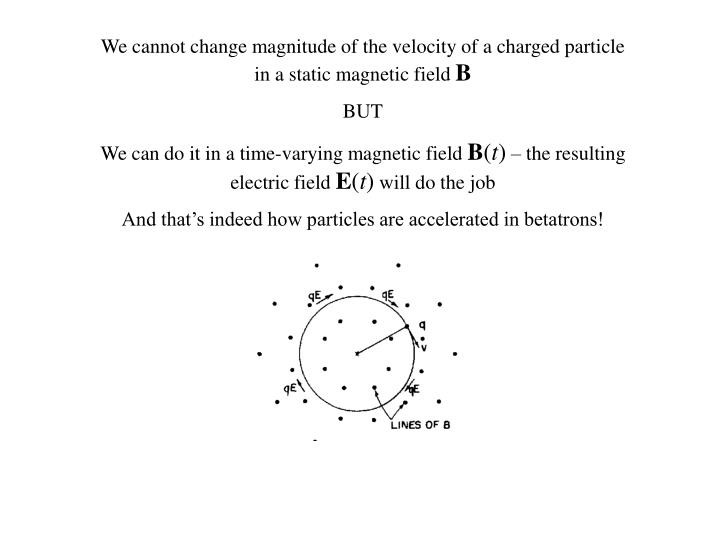 We cannot change magnitude of the velocity of a charged particle in a static magnetic field
