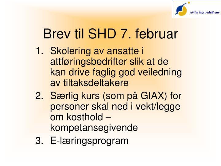 Brev til SHD 7. februar