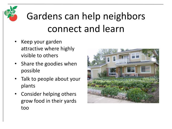 Gardens can help neighbors connect and learn