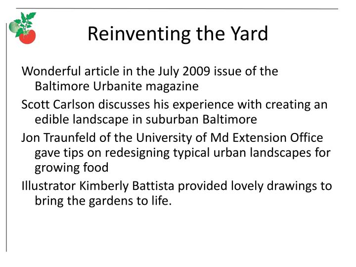 Reinventing the Yard