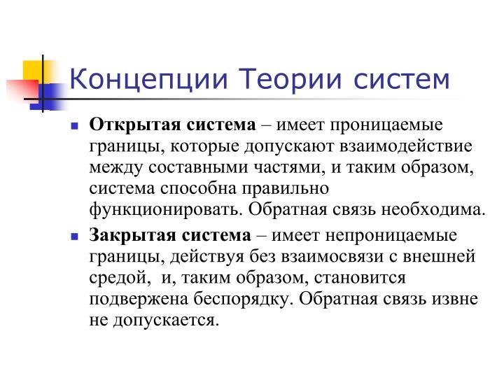 Концепции Теории систем