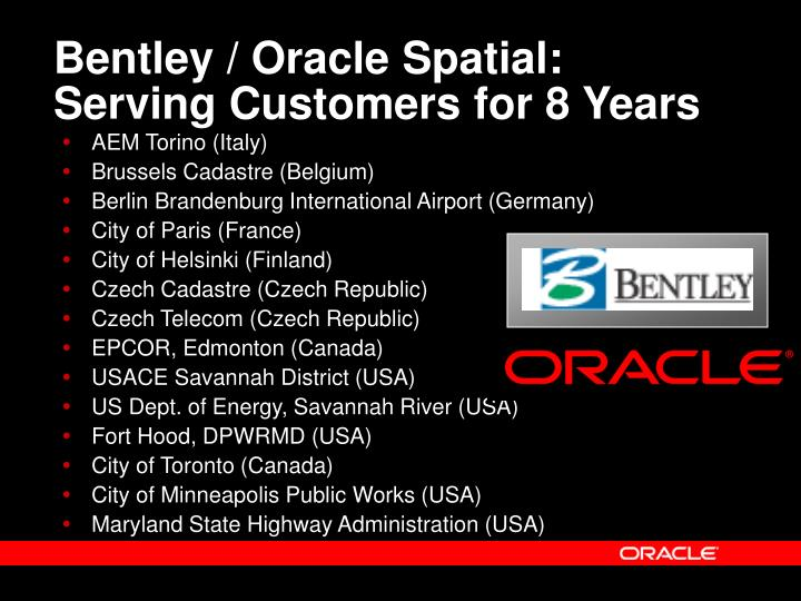 Bentley / Oracle Spatial: