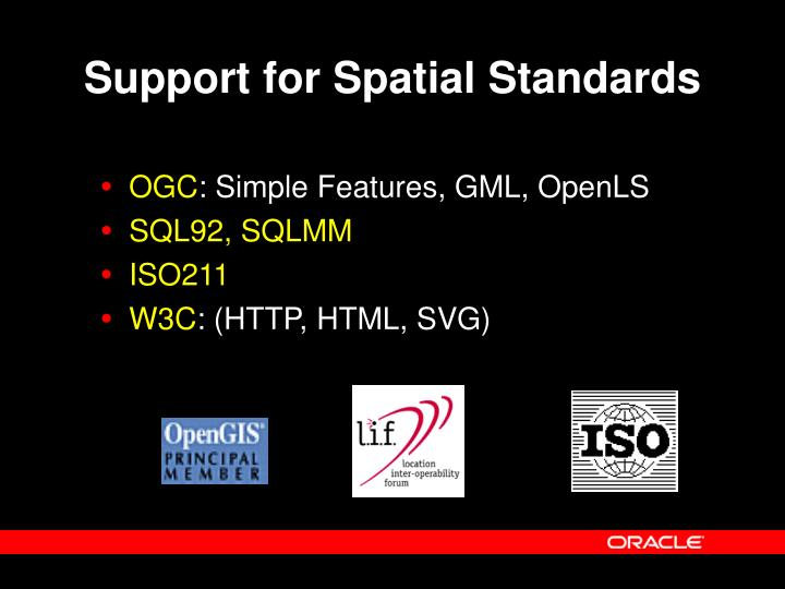 Support for Spatial Standards