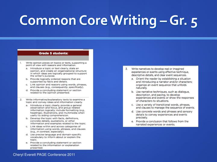 Common Core Writing – Gr. 5