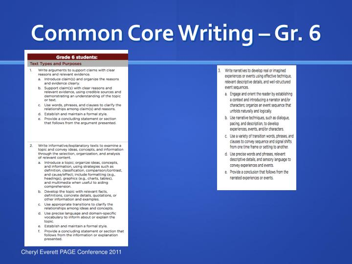 Common Core Writing – Gr. 6