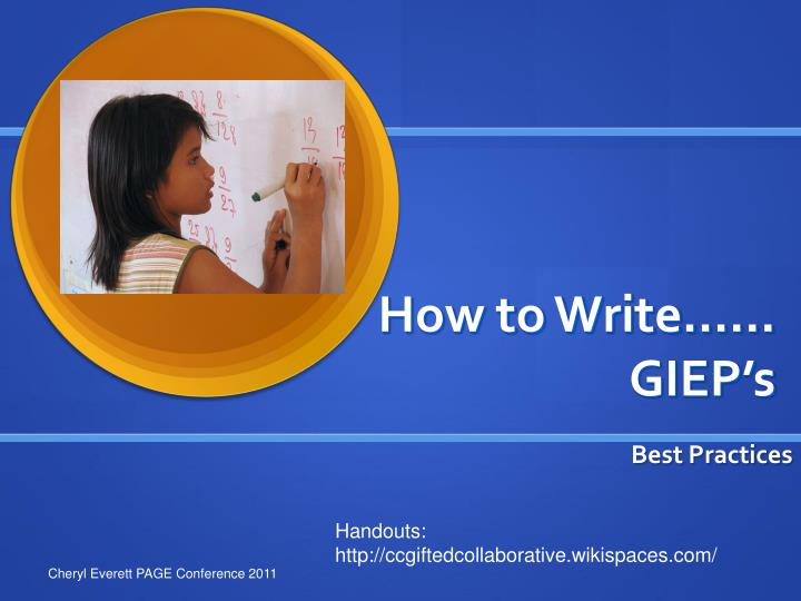 How to write giep s