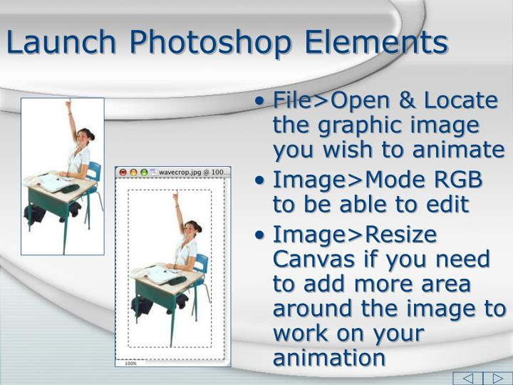 Launch photoshop elements