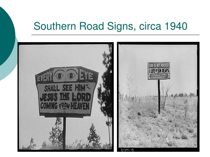 Southern Road Signs, circa 1940