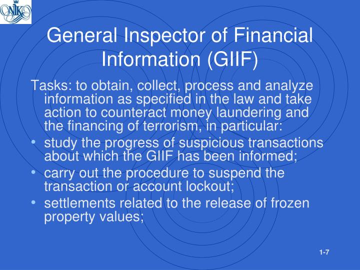 General Inspector of Financial Information (GIIF)