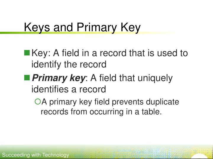 Keys and Primary Key