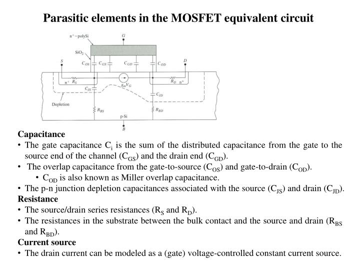 Parasitic elements in the MOSFET equivalent circuit