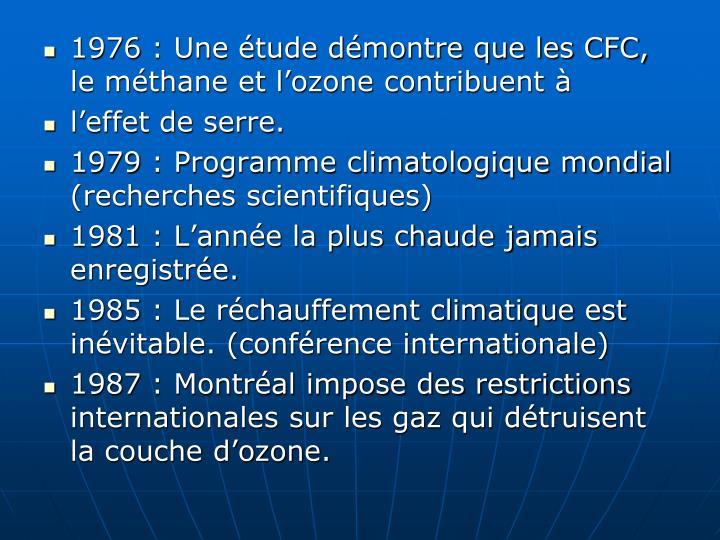 1976: Une étude démontre que les CFC, le méthane et l'ozone contribuent à