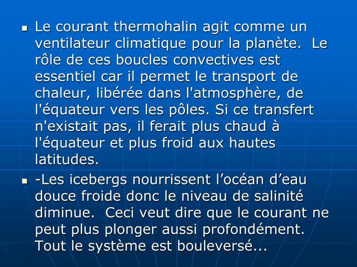 Le courant thermohalin agit comme un ventilateur climatique pour la planète.