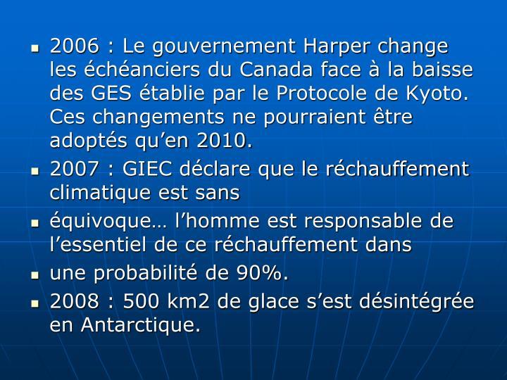 2006: Le gouvernement Harper change les échéanciers du Canada face à la baisse des GES établie par le Protocole de Kyoto. Ces changements ne pourraient être adoptés qu'en 2010.
