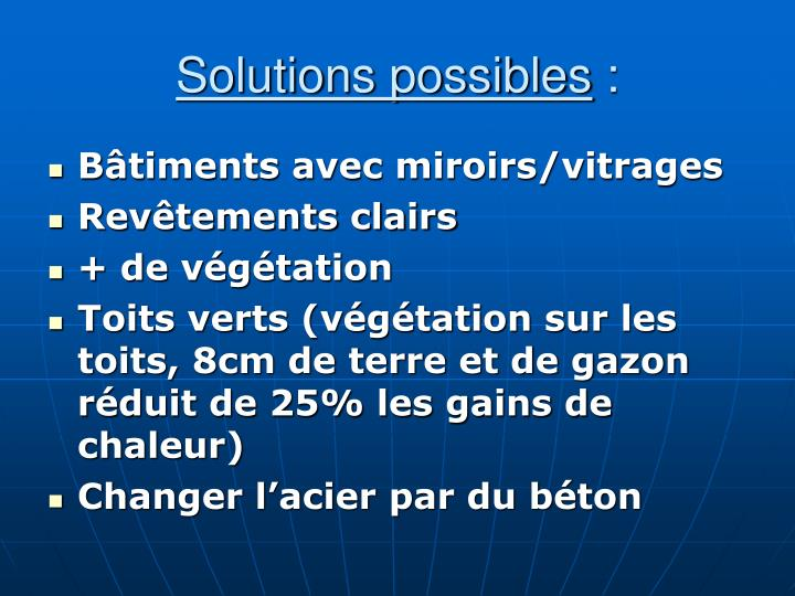 Solutions possibles