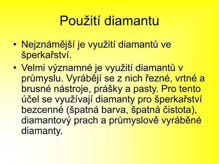 Použití diamantu