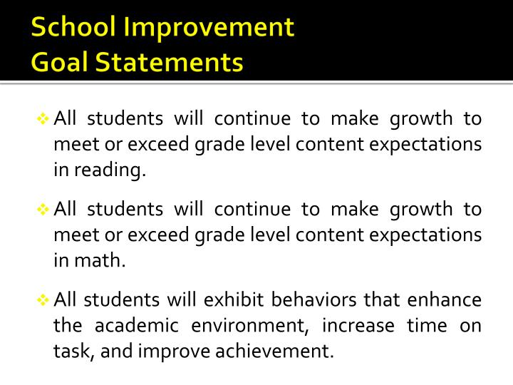 School improvement goal statements