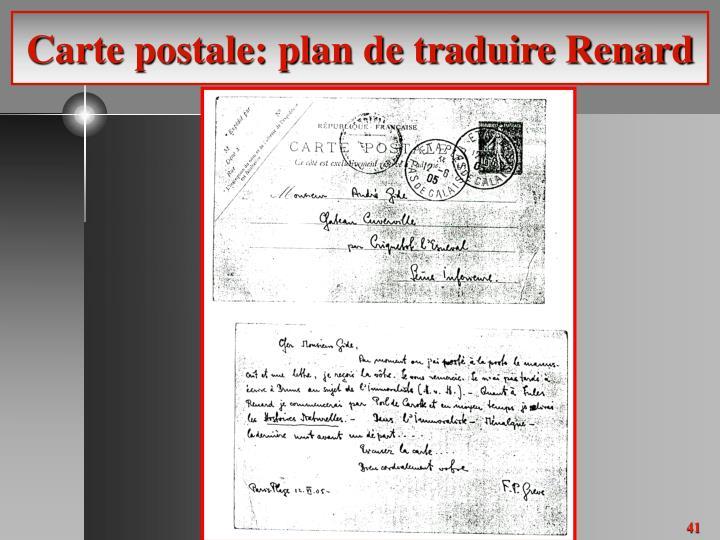 Carte postale: plan de traduire Renard